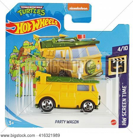 Ukraine, Kyiv - April 05. 2021: Hot Wheels Toy Car  Turtles Party Wagon Close Up Picture. Wheels Is