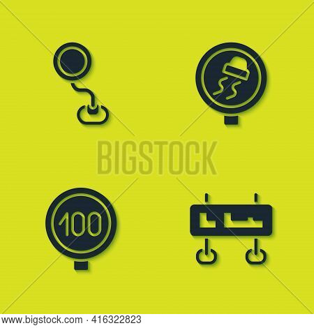 Set Road Traffic Sign, , Speed Limit And Slippery Road Icon. Vector