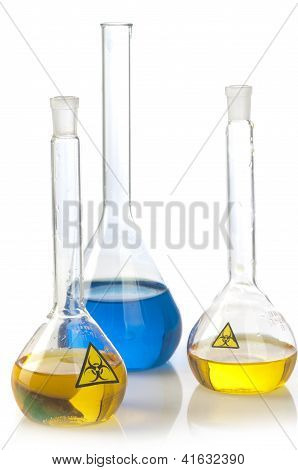 Glass Laboratory Equipment With Symbol Biohazard