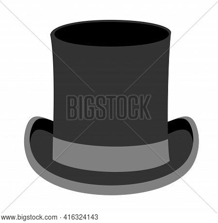 Black Gentleman Hat. Black Top Hat Vector Illustration Isolated On White Background. Male Head Cap.