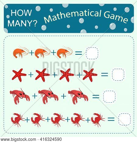 Educational Counting Math Game On The Theme Of The Sea For Preschool Children. Count The Number Of S