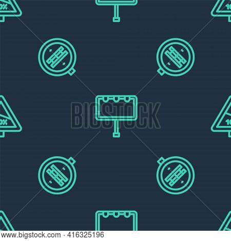 Set Line Billboard With Lights, Railroad Crossing And Steep Ascent And Descent On Seamless Pattern.