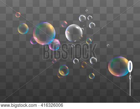 Set Of Realistic Colorful Soap Bubbles. Transparent Realistic Soap Bubbles Isolated On Transparent B