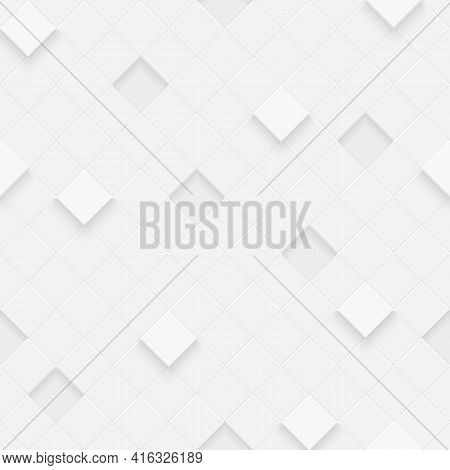 3d Seamless Cubes Pattern. White Ceramic Tile Background. Abstract Square Diagonal Mosaic.