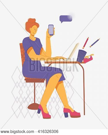 Woman Making A Career - Working In The Office Or At Home, Typing On Computer And Making Phone Calls,