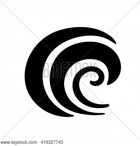 Ocean Wave Silhouette Sketch. Surge, Ripple, Wavelet In Nature. Surfing Travel And Vacation Vector I