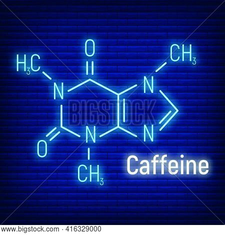Caffeine Glow Neon Style Concept Chemical Formula Icon Label, Text Font Vector Illustration, Isolate