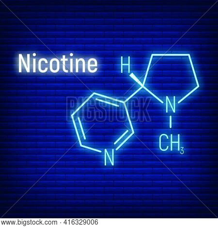 Nicotine Concept Glow Neon Style Chemical Formula Icon Label, Text Font Vector Illustration, Isolate