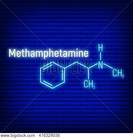 Methamphetamine Glow Neon Style Concept Chemical Formula Icon Label, Text Font Vector Illustration,