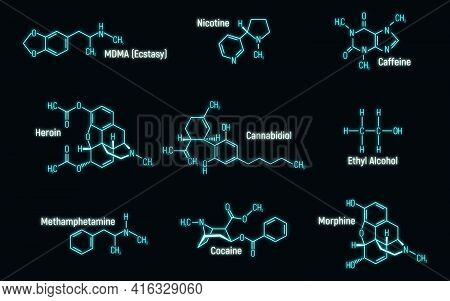 Set Of Glow Neon Style Concept 9 Narcotic Chemical Formula Icon Label, Text Font Vector Illustration