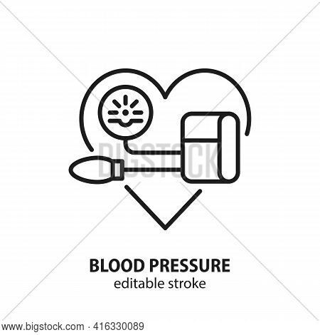Blood Pressure Line Icon. Vector Sign Of Heart Health. Editable Stroke.