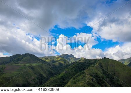 Green Mountains Panorama Under Cloudy Sky Spectacular Landscape. Rural Land Scenery. Summer Travel H