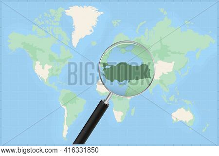 Map Of The World With A Magnifying Glass On A Map Of Turkey Detailed Map Of Turkey And Neighboring C