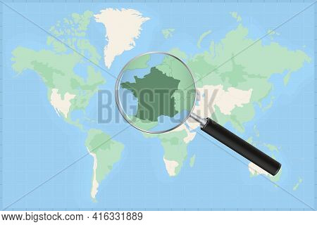 Map Of The World With A Magnifying Glass On A Map Of France Detailed Map Of France And Neighboring C