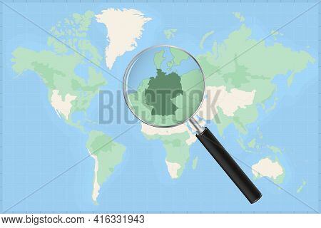 Map Of The World With A Magnifying Glass On A Map Of Germany Detailed Map Of Germany And Neighboring
