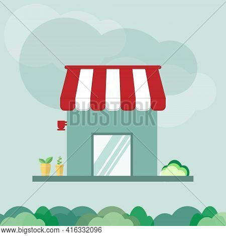 Shop Or Facade With Red And White Awning. Decorate The Storefront With Green Plants. Concept Of Reta