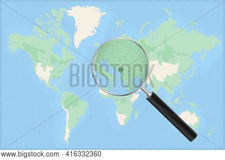 Map Of The World With A Magnifying Glass On A Map Of Montenegro Detailed Map Of Montenegro And Neigh