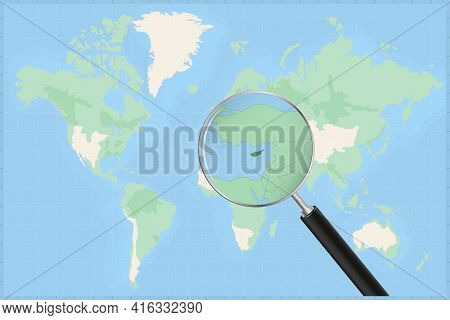 Map Of The World With A Magnifying Glass On A Map Of Cyprus Detailed Map Of Cyprus And Neighboring C