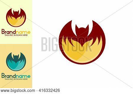 Elegant Fire Bat Logo. Round Bat Shape With Fire Design Concept Below. Creative Simple And Unique Lo