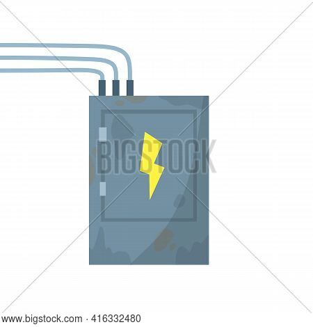 High Voltage Sensor. Technical Industrial Appliance. Danger Sign - Yellow Lightning. Current Switch.