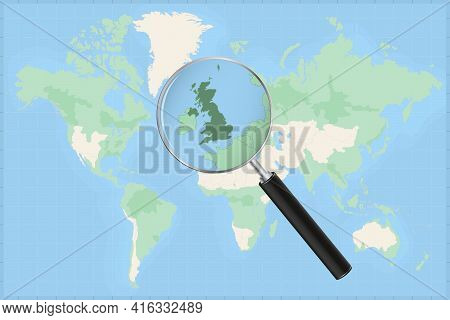 Map Of The World With A Magnifying Glass On A Map Of United Kingdom Detailed Map Of United Kingdom A