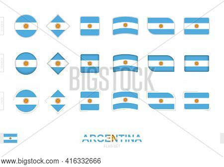 Argentina Flag Set, Simple Flags Of Argentina With Three Different Effects. Vector Illustration.