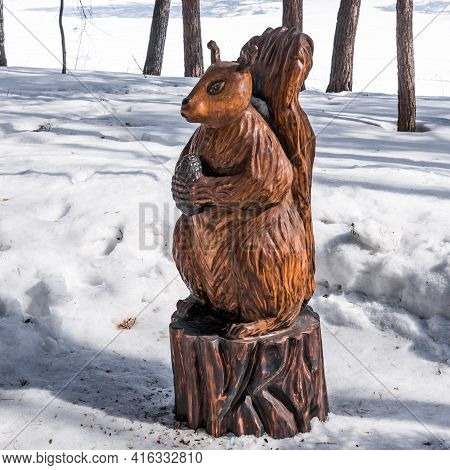 Berdsk, Novosibirsk Region, Western Siberia, Russia-april 4, 2021: A Wooden Figure From A Fairy Tale