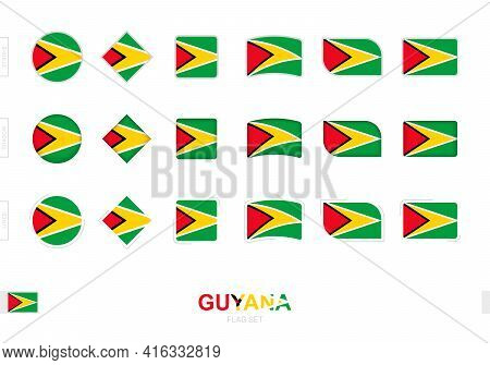 Guyana Flag Set, Simple Flags Of Guyana With Three Different Effects. Vector Illustration.