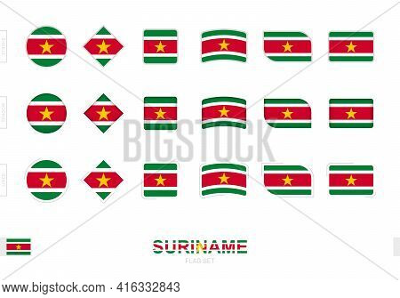 Suriname Flag Set, Simple Flags Of Suriname With Three Different Effects. Vector Illustration.