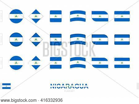 Nicaragua Flag Set, Simple Flags Of Nicaragua With Three Different Effects. Vector Illustration.