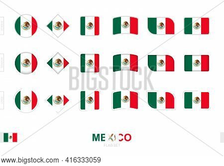 Mexico Flag Set, Simple Flags Of Mexico With Three Different Effects. Vector Illustration.