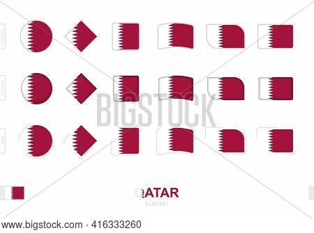 Qatar Flag Set, Simple Flags Of Qatar With Three Different Effects. Vector Illustration.