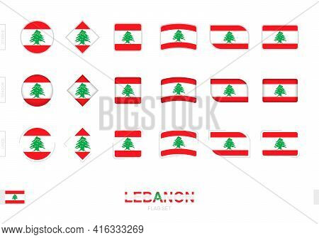Lebanon Flag Set, Simple Flags Of Lebanon With Three Different Effects. Vector Illustration.