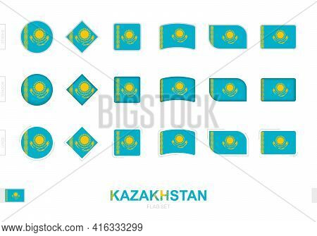 Kazakhstan Flag Set, Simple Flags Of Kazakhstan With Three Different Effects. Vector Illustration.