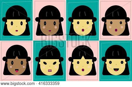 Female Emotion Facial Collection.young Girl With Different Expressions.happy,sad,angry,surprise.cart