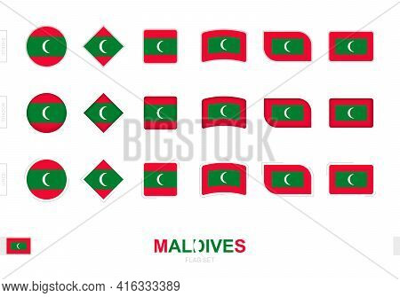 Maldives Flag Set, Simple Flags Of Maldives With Three Different Effects. Vector Illustration.
