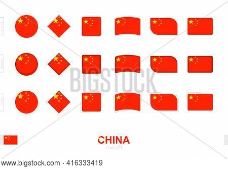 China Flag Set, Simple Flags Of China With Three Different Effects. Vector Illustration.
