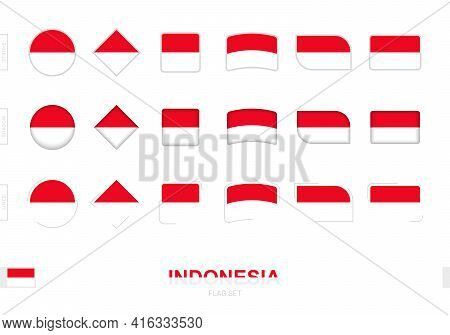 Indonesia Flag Set, Simple Flags Of Indonesia With Three Different Effects. Vector Illustration.