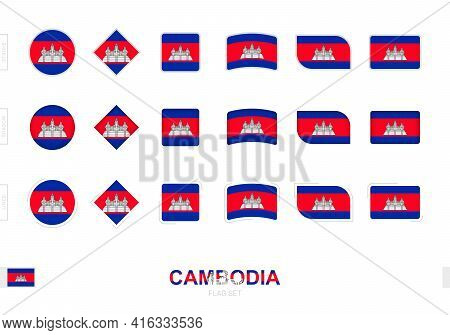 Cambodia Flag Set, Simple Flags Of Cambodia With Three Different Effects. Vector Illustration.