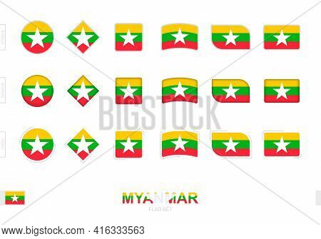 Myanmar Flag Set, Simple Flags Of Myanmar With Three Different Effects. Vector Illustration.