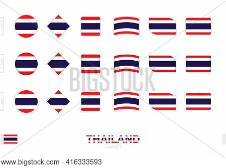 Thailand Flag Set, Simple Flags Of Thailand With Three Different Effects. Vector Illustration.
