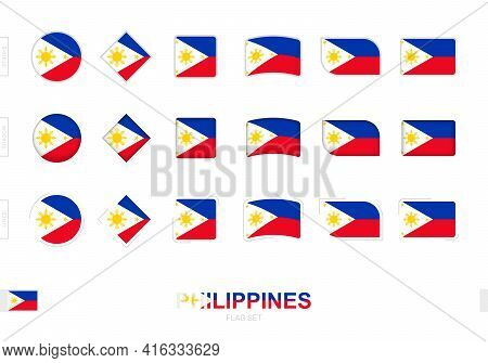 Philippines Flag Set, Simple Flags Of Philippines With Three Different Effects. Vector Illustration.