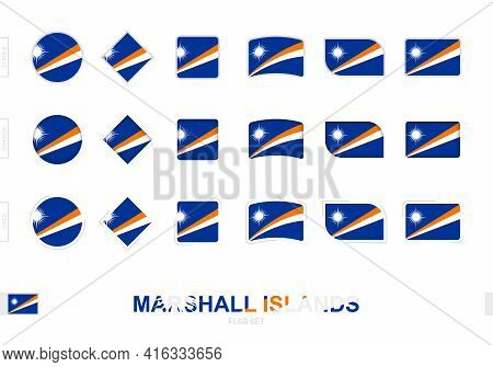 Marshall Islands Flag Set, Simple Flags Of Marshall Islands With Three Different Effects. Vector Ill