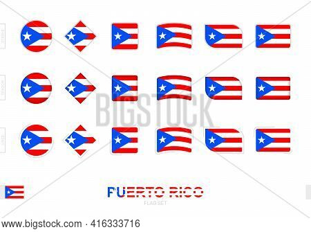 Puerto Rico Flag Set, Simple Flags Of Puerto Rico With Three Different Effects. Vector Illustration.