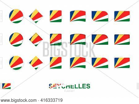 Seychelles Flag Set, Simple Flags Of Seychelles With Three Different Effects. Vector Illustration.