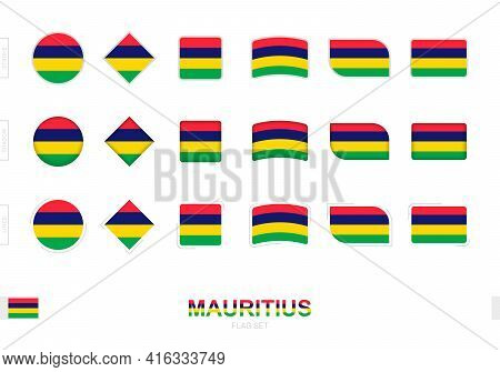 Mauritius Flag Set, Simple Flags Of Mauritius With Three Different Effects. Vector Illustration.