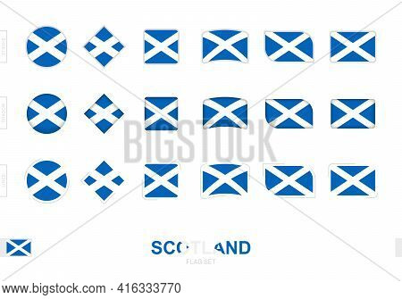Scotland Flag Set, Simple Flags Of Scotland With Three Different Effects. Vector Illustration.