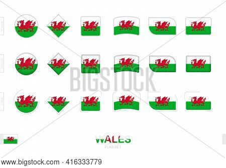 Wales Flag Set, Simple Flags Of Wales With Three Different Effects. Vector Illustration.