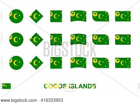 Cocos Islands Flag Set, Simple Flags Of Cocos Islands With Three Different Effects. Vector Illustrat