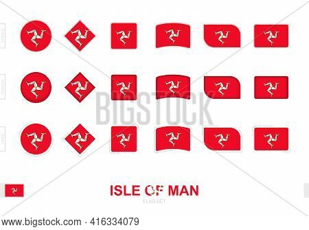 Isle Of Man Flag Set, Simple Flags Of Isle Of Man With Three Different Effects. Vector Illustration.
